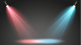 Reeks gekleurde zoeklichten op een transparante achtergrond Heldere verlichting met schijnwerpers Het zoeklicht is wit, blauw vector illustratie