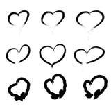 Reeks gekrabbelde harten Vector de pictogrammeninzameling van de grungestijl Vectorillustratie van de schetsmatige getrokken bors Royalty-vrije Stock Fotografie