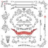 Reeks gekrulde kalligrafische ontwerpelementen, Royalty-vrije Stock Afbeeldingen