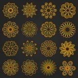 Reeks gele bloemen mandala Stock Afbeelding