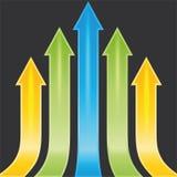 Reeks gele, groene en blauwe pijlen als steekproef, te Stock Fotografie