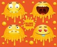 Reeks gele karakters van de slijmglimlach emoticon royalty-vrije illustratie