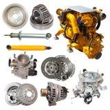 Reeks gele motor en weinig automobieldelen stock afbeelding