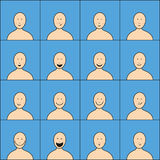 Reeks gelukkige gezichten Royalty-vrije Stock Afbeelding