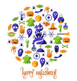 Reeks Gelukkige Halloween-pictogrammen Royalty-vrije Stock Foto's