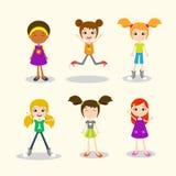 Reeks gelukkige jonge meisjes in verschillende posities royalty-vrije illustratie