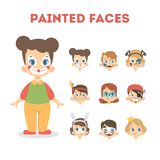 Reeks gelukkige kinderenportretten met geschilderde gezichten royalty-vrije illustratie