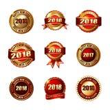 Reeks Gelukkige Nieuwjaar 2018 Gouden Etiketten met Lint Royalty-vrije Stock Afbeeldingen