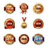 Reeks Gelukkige Nieuwjaar 2018 Gouden Etiketten met Lint Stock Foto's