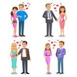 Reeks Gelukkige paren Romantisch paar, liefde, verhouding Royalty-vrije Stock Foto