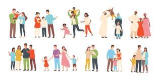 Reeks gelukkige traditionele heteroseksuele families met kinderen Glimlachende moeder, vader en jonge geitjes Leuke beeldverhaalk vector illustratie