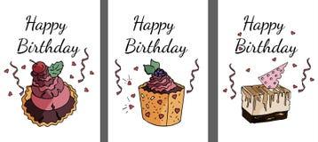 Reeks gelukkige verjaardagskaarten in vector royalty-vrije illustratie