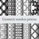 Reeks 10 geometrisch naadloos patroon Royalty-vrije Stock Afbeeldingen