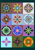 Reeks geometrische bloemen Stock Foto