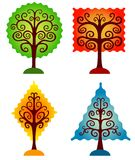 Reeks geometrische bomen. Stock Fotografie