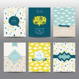 Reeks Geometrische Brochures en Kaarten Stock Afbeelding