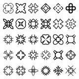Reeks geometrische eenvoudige vormen Kostuums voor monsters om naadloze patronen tot stand te brengen Stock Foto's