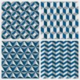 Reeks geometrische naadloze patronen. Vectorillustratie. Stock Fotografie