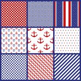 Reeks Geometrische Patronen in Marine Style Royalty-vrije Stock Fotografie