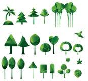 Reeks geometrische vectorbomen Stock Afbeeldingen