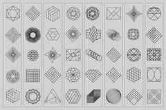 Reeks geometrische vormen In hipsterachtergrond en logotypes Godsdienst, filosofie, spiritualiteit, occultismesymbolen royalty-vrije illustratie