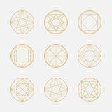 Reeks geometrische vormen, vierkanten en cirkels, lijnontwerp, Royalty-vrije Stock Foto's