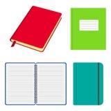 Reeks geopende en gesloten notitieboekjes en voorbeeldenboeken met gekleurde dekking Notitieboekje met elastische riem, met spira stock illustratie