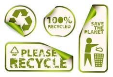 Reeks gerecycleerde etikettenkentekens en stickers Stock Foto's