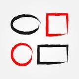 Reeks gescheurde die kaders met een ruwe borstel worden geschilderd Rond, vierkant, rechthoekig, ovaal kader Stock Fotografie