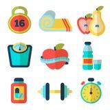 Reeks geschiktheids vlakke pictogrammen Vector illustratie Royalty-vrije Stock Foto