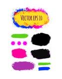 Reeks geschilderde grunge banners Heldere kleurrijke inkt vectordievlekken op wit worden geïsoleerd Stock Fotografie