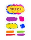 Reeks geschilderde grunge banners Heldere kleurrijke inkt vectordievlekken op wit worden geïsoleerd Stock Foto