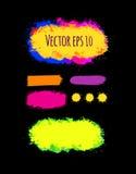Reeks geschilderde grunge banners Heldere kleurrijke inkt vectordievlekken op zwarte worden geïsoleerd Royalty-vrije Stock Foto