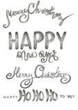 Reeks geschrift, nieuw jaar en vrolijke Kerstmiswoorden in verschillende stijlen vector illustratie