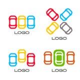 Reeks geïsoleerde kleurrijke vectorapparaten Eenvoudige mobiele contour Auto'ssilhouet Parkeerterreinteken Wegelement Stock Afbeeldingen