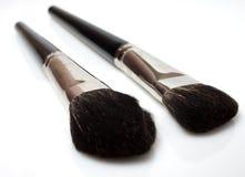 Reeks geïsoleerdee make-upborstels Royalty-vrije Stock Fotografie