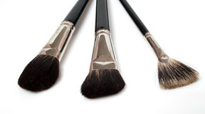 Reeks geïsoleerdel make-upborstels Stock Foto's
