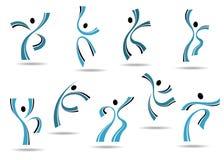 Reeks gestileerde blauwe pictogrammen van dansende mensen Royalty-vrije Stock Foto