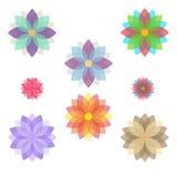 Reeks gestileerde bloemen (bloei) royalty-vrije illustratie