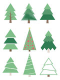 Reeks Gestileerde Kerstbomen Vectorinzamelingssparren stock afbeeldingen