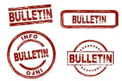 Reeks gestileerde zegels die het term bulletin tonen Royalty-vrije Stock Foto