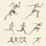Reeks getrokken lopende mensen gezonde vectorschets Royalty-vrije Stock Fotografie