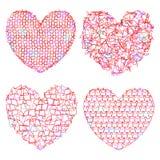 Reeks gevoelige multicolored harten voor decoratie Stock Foto's