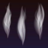 Reeks gevoelige witte golven van de sigaretrook op transparante achtergrond, digitale realistische rook, vector 3D illustratie Royalty-vrije Stock Foto's