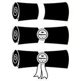 Reeks gevouwen diploma's met lint en zegels Vector vlakke illustratie royalty-vrije illustratie