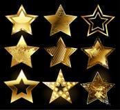 Reeks geweven gouden sterren stock illustratie