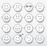 Reeks gezichten met diverse emotieuitdrukkingen. Stock Foto's
