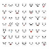 Reeks gezichten van beeldverhaalkawaii, verschillende emoties vector illustratie