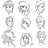 Reeks gezichten van schetsen diverse mensen Stock Foto's