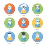 Reeks gezichtenpictogrammen van beroep in vlakke stijl Stock Afbeeldingen